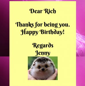 Birthday eCard app Screenshot